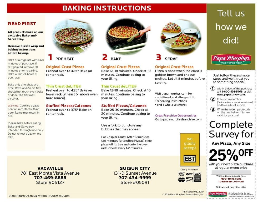 Papa Murphy Pizza Baking Instructions