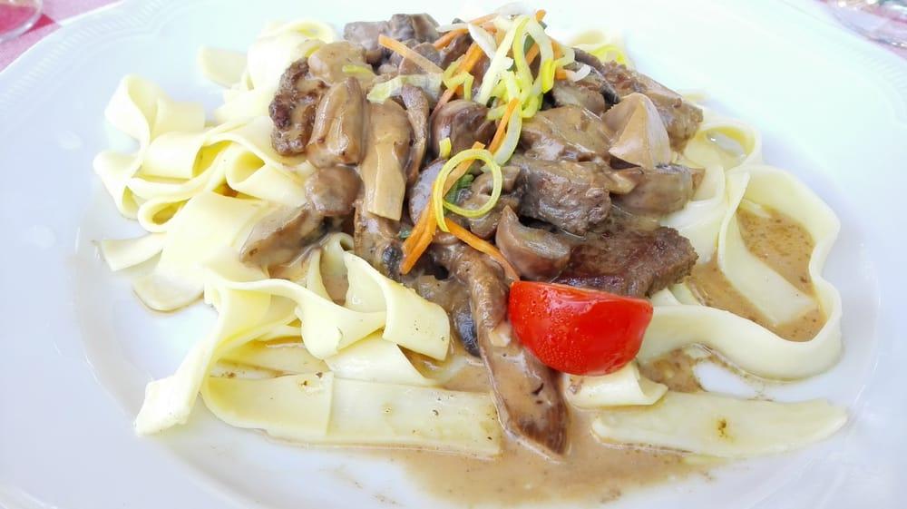 Rinderfiltespitzen in Sherryrahmsauce mit Pilzen und Butternudeln ...