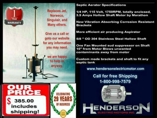 Henderson electric motors local services 2003 chestnut for Jet septic aerator motor