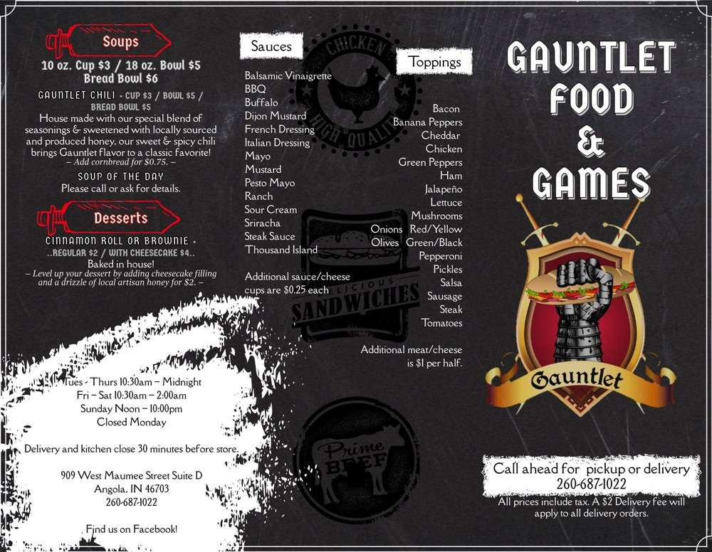 Gauntlet Food and Games: 909 W Maumee St, Angola, IN