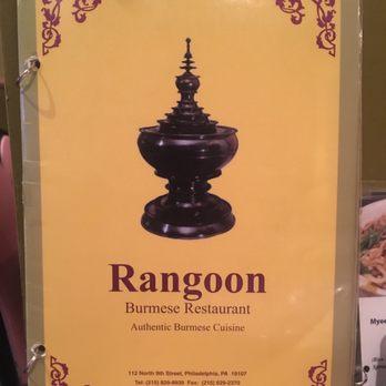 Rangoon Restaurant Philadelphia Menu