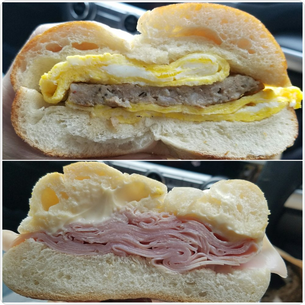 Sausage Egg Amp Cheese Bagel And Ham Sandwich Yelp