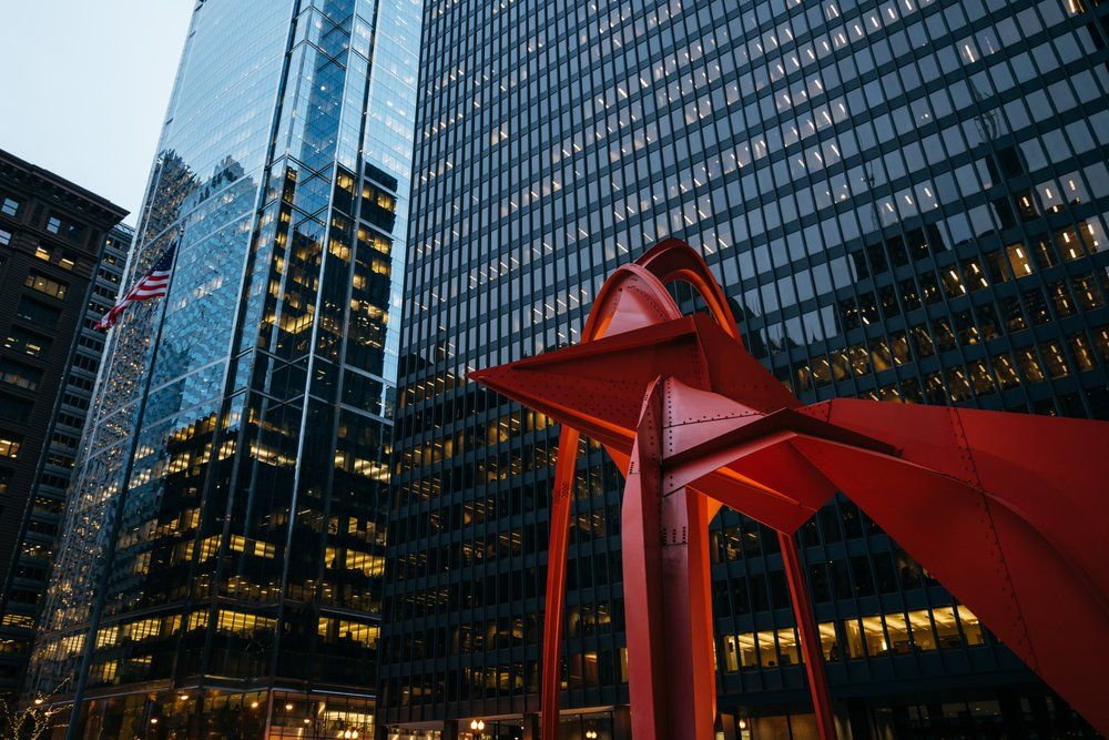 Photo of The Flamingo By Alexander Calder: Chicago, IL
