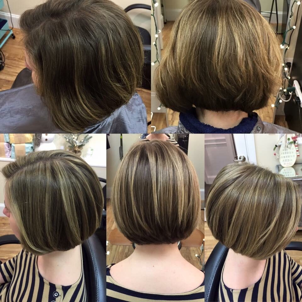 Before And After Beautiful Highlighted Bob Haircut With Face Framing