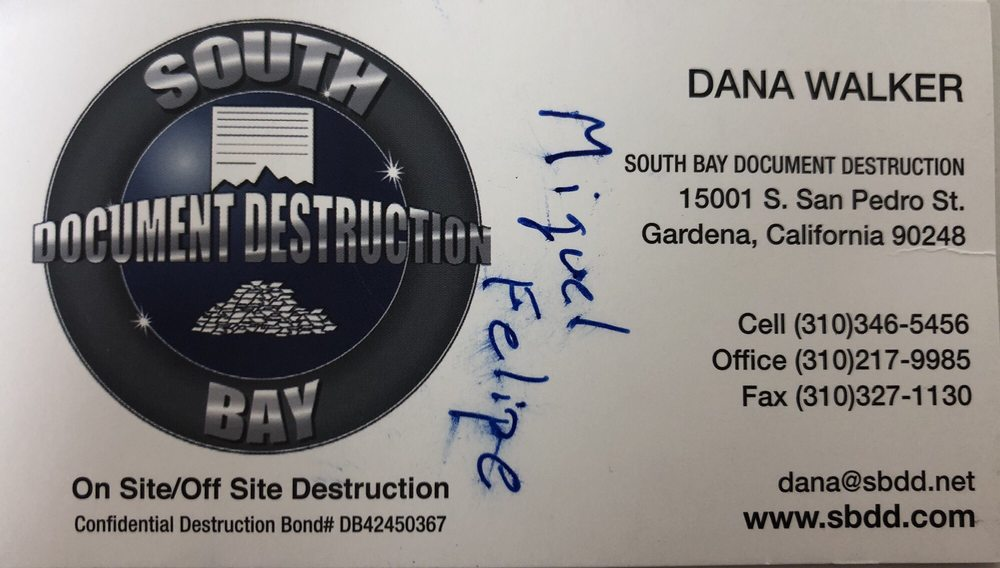 South Bay Document Destruction: 15001 S San Pedro St, Gardena, CA