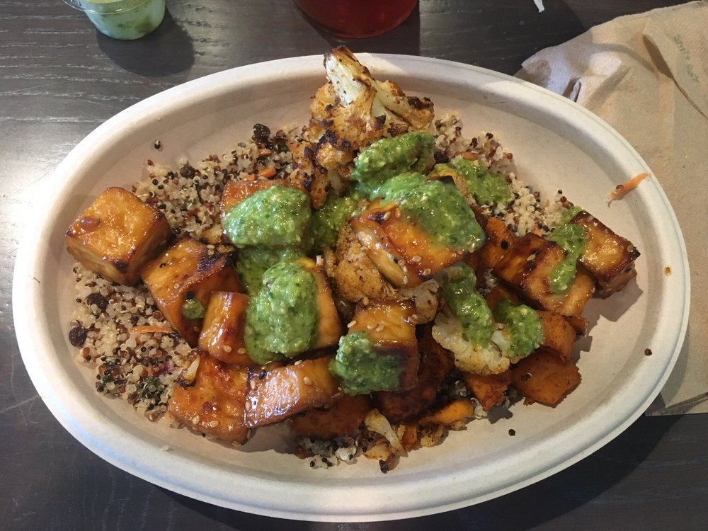 "A small ""bol"" with sweet potatoes, quinoa, tofu, and their ..."