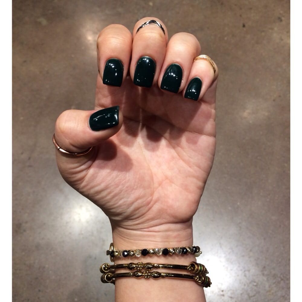 Dark Green gel polish over acrylic, with square shape. Not a usual ...