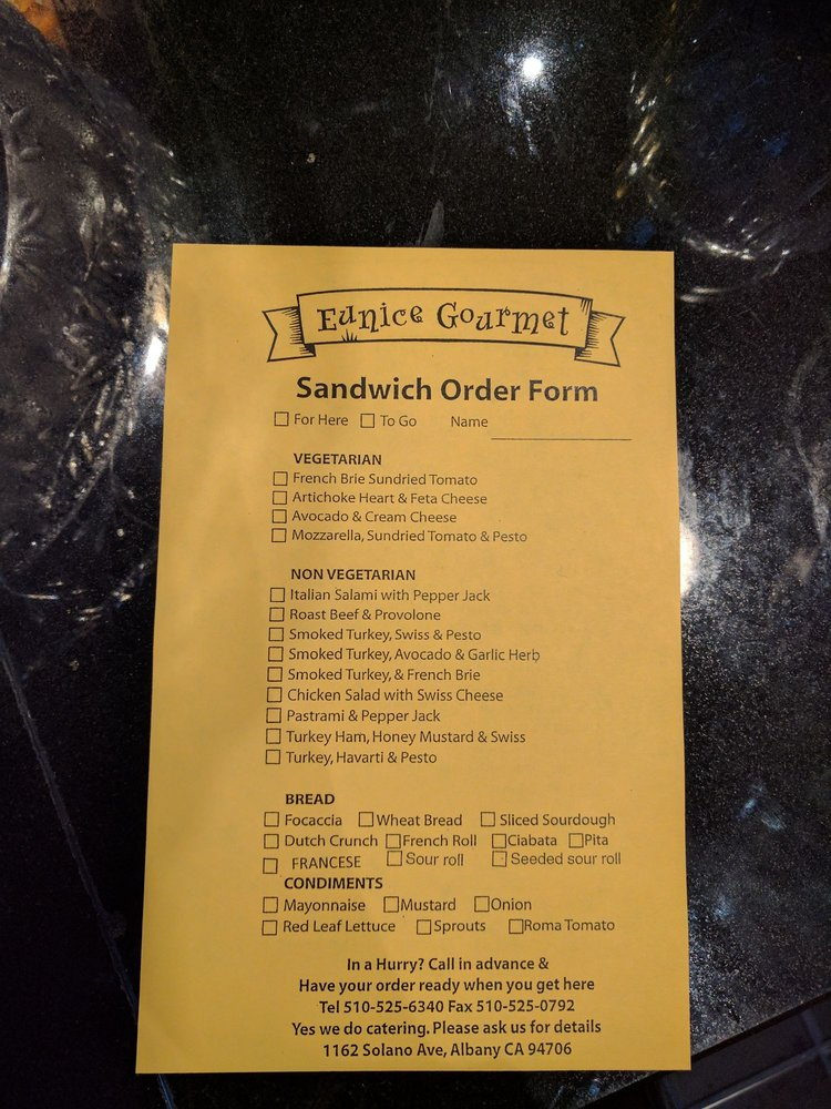 Sandwich order form - Yelp on order flow, order template, order number, order book, order symbol, order from walmart, order time, order letter, order of service, order of reaction, order button, order sheet, order now, order paper, order list, order of the spur certificate, order of byte sizes, order processing, order pad, order management,