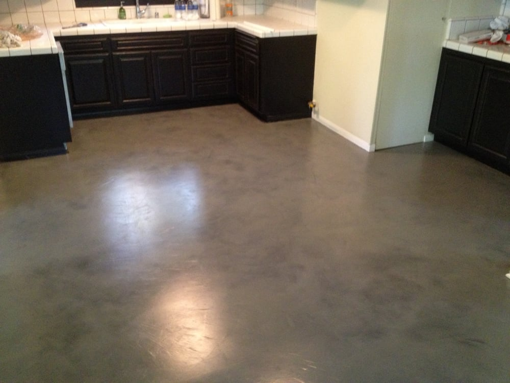 Interior concrete floor overlay black with grey stain yelp for Indoor cement flooring