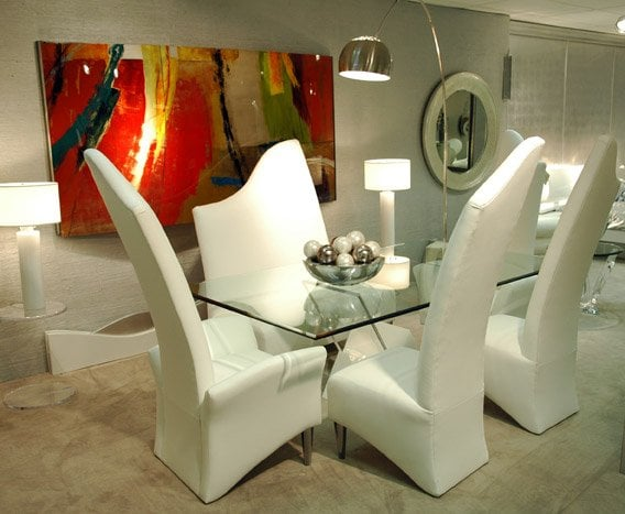 Unique White Dining Chairs With Acrylic Table Base And