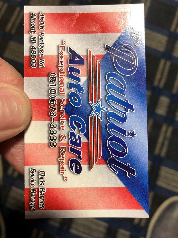JD's Patriot Auto Care: 4516 Van Dyke Rd, Almont, MI