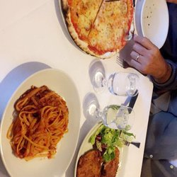 Photo of Goose - Rome, Roma, Italy. Pizza diavola, fettuccine alla bologense, and fried breaded chicken (I forgot the actual name)