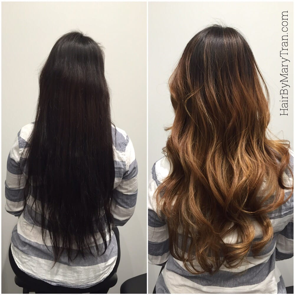 Dark Asian Hair Perviously Colored To Lighter BALAYAGE