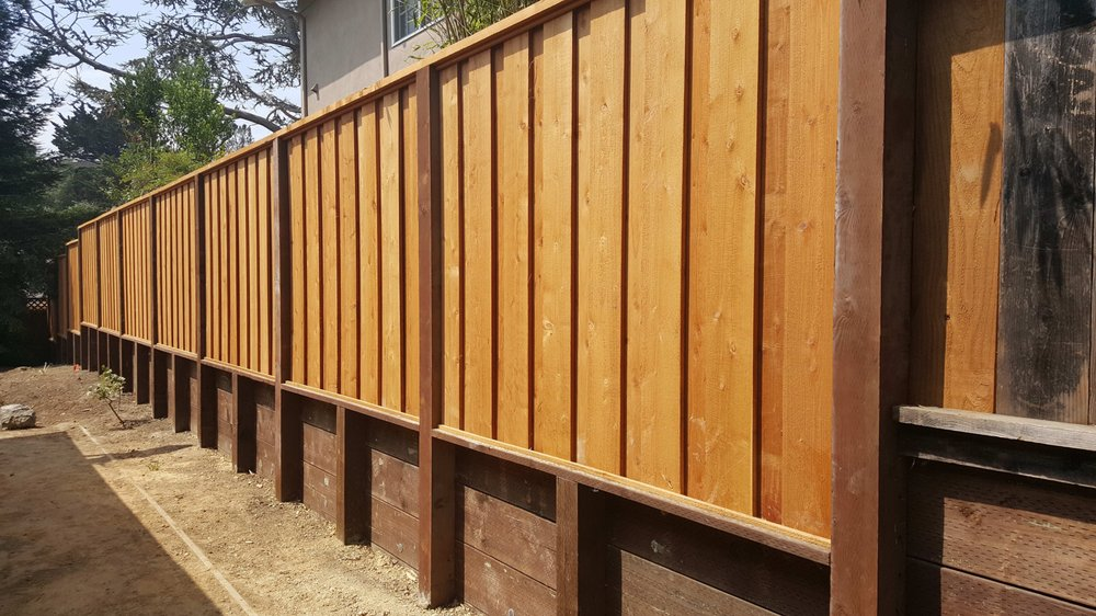 All Fence Construction Of Retaining Wall And Board On
