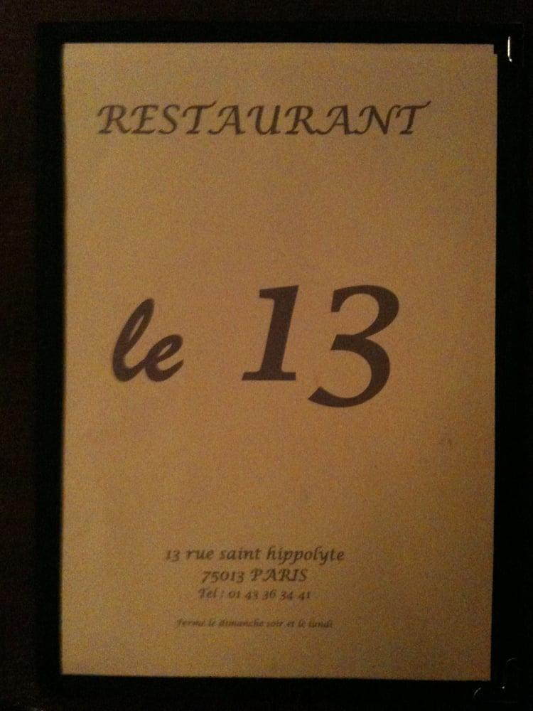 le 13 restaurantes 13 rue st hippolyte port royal gobelins par s paris francia. Black Bedroom Furniture Sets. Home Design Ideas