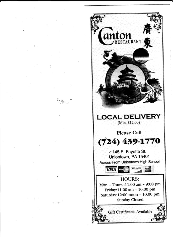 Canton Chinese Restaurant Uniontown Pa
