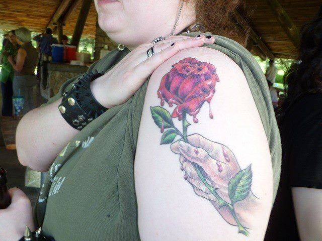 Newest bleed rose tattoo after it was healed by alan yelp for Pierced hearts tattoo parlor