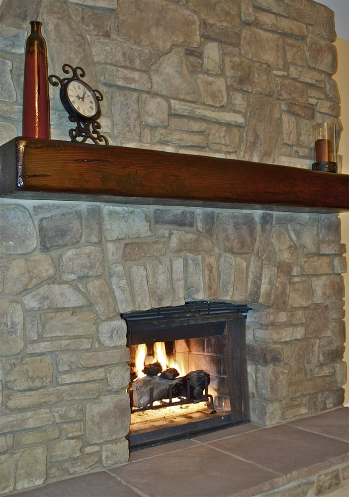 Rustic Wood Fireplace Mantel