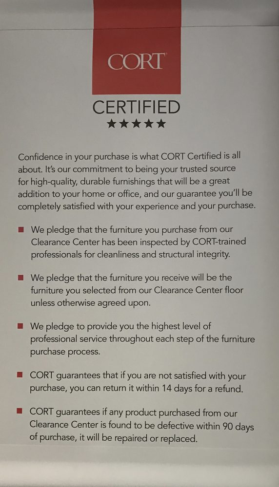Cort Certified Pledge When You Purchase Furniture Yelp