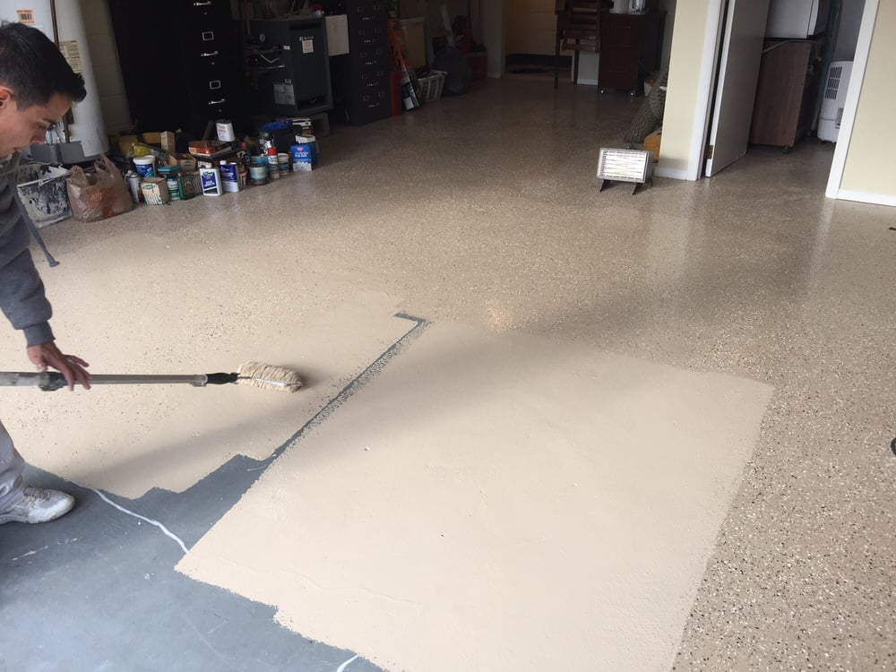 Tan Epoxy Garage Floor