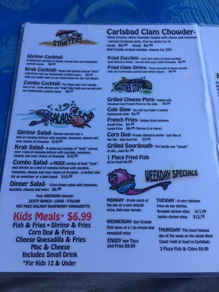 Harbor Fish Cafe Carlsbad Ca Menu