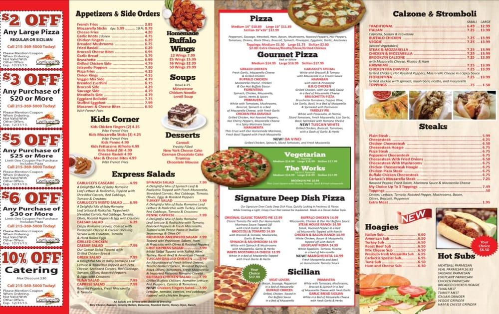 Carlucci S Restaurant Menu Yardley Pa