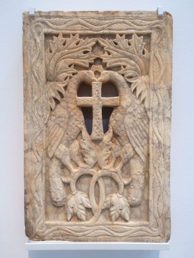 Byzantine Marble Panel Of Two Peacocks 6th 7th Century
