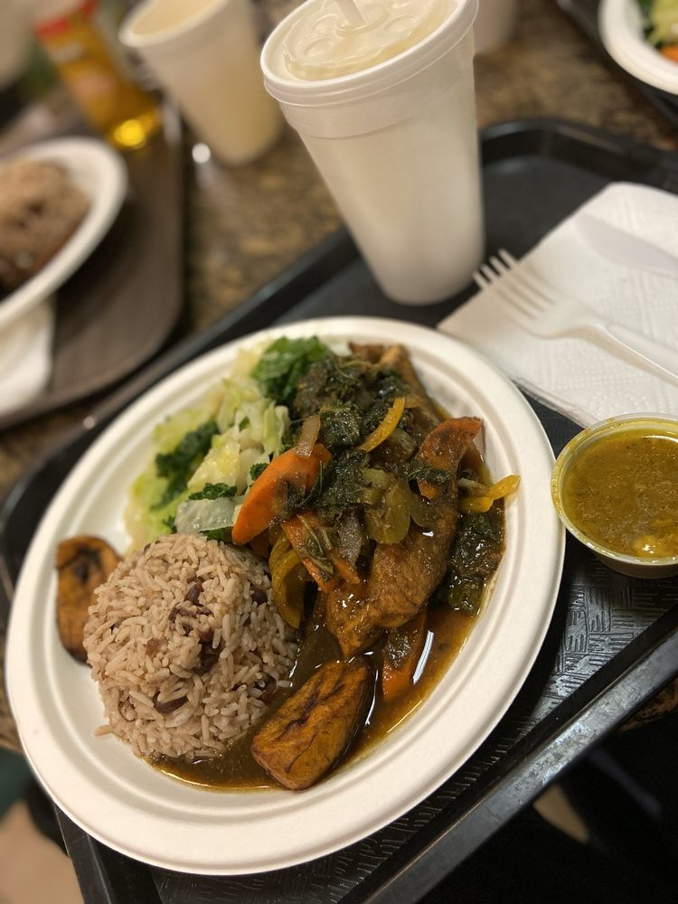 Food from The Jerk Spot Jamaican Restaurant