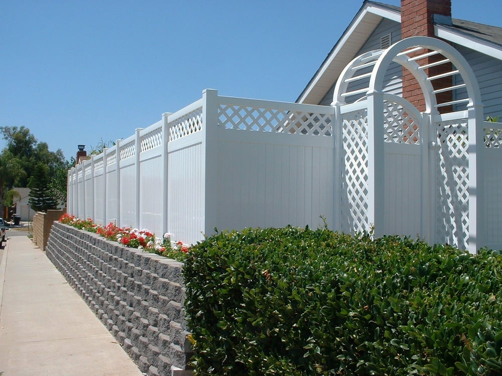 White Vinyl Privacy With Lattice Fence Gate And Arbor Yelp