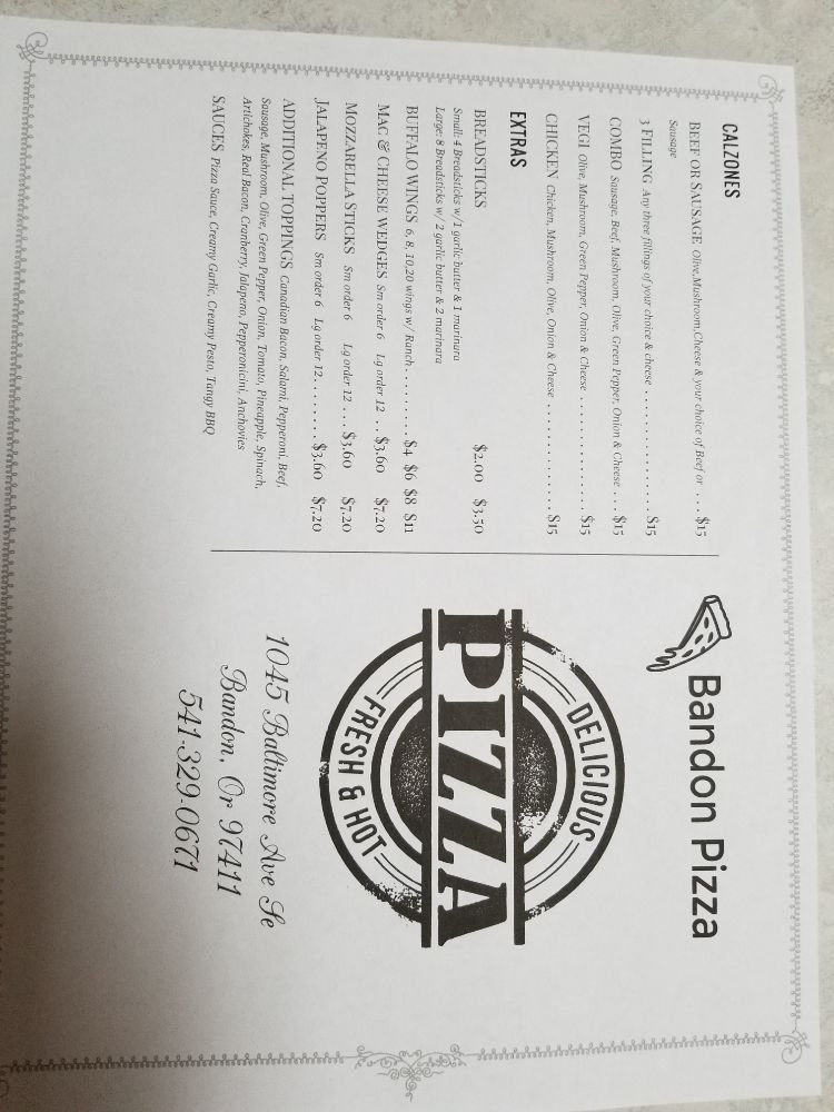 Bandon Pizza: 1045 Baltimore Ave SE, Bandon, OR
