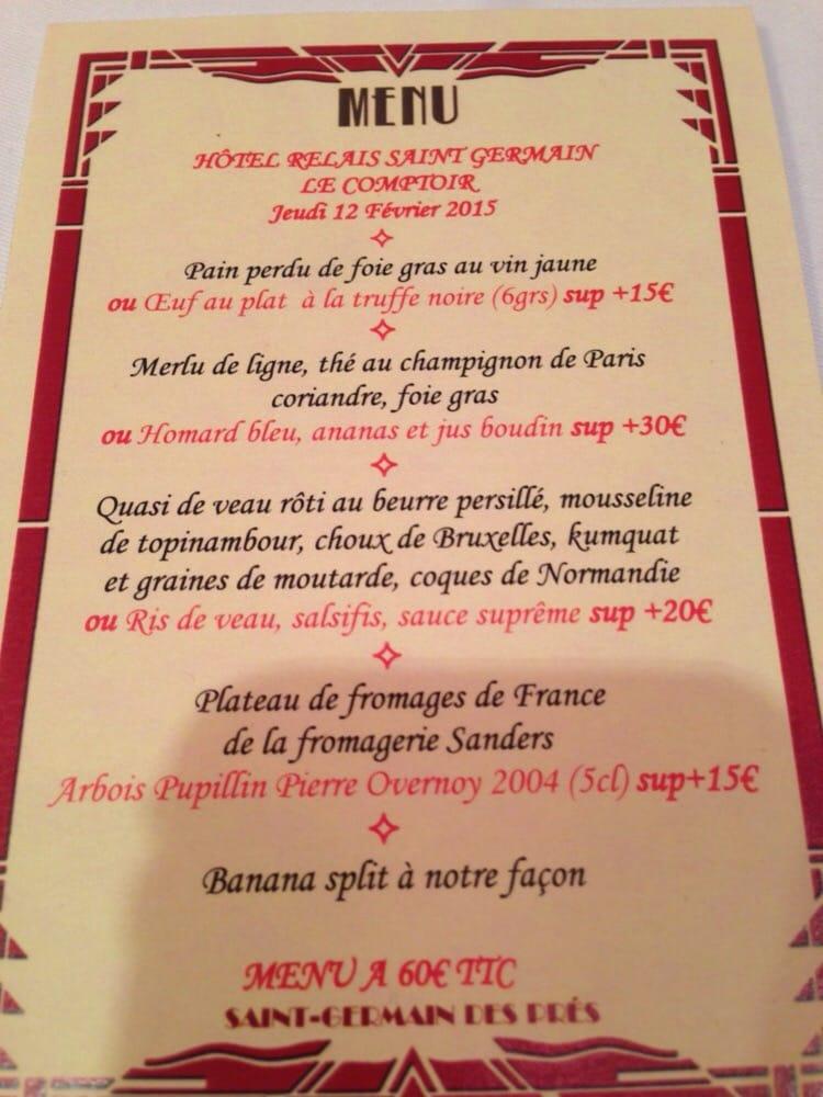 Evening menu doubles as a post card yelp - Le comptoir du relais restaurant menu ...
