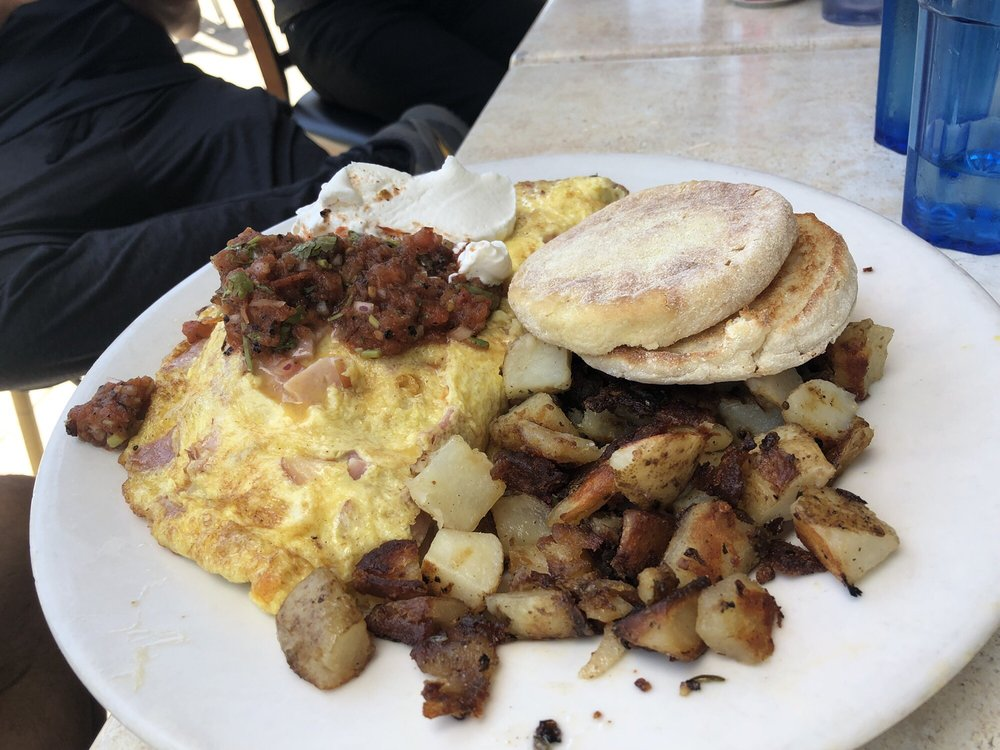 Omelette with English muffin and potatoes - Yelp