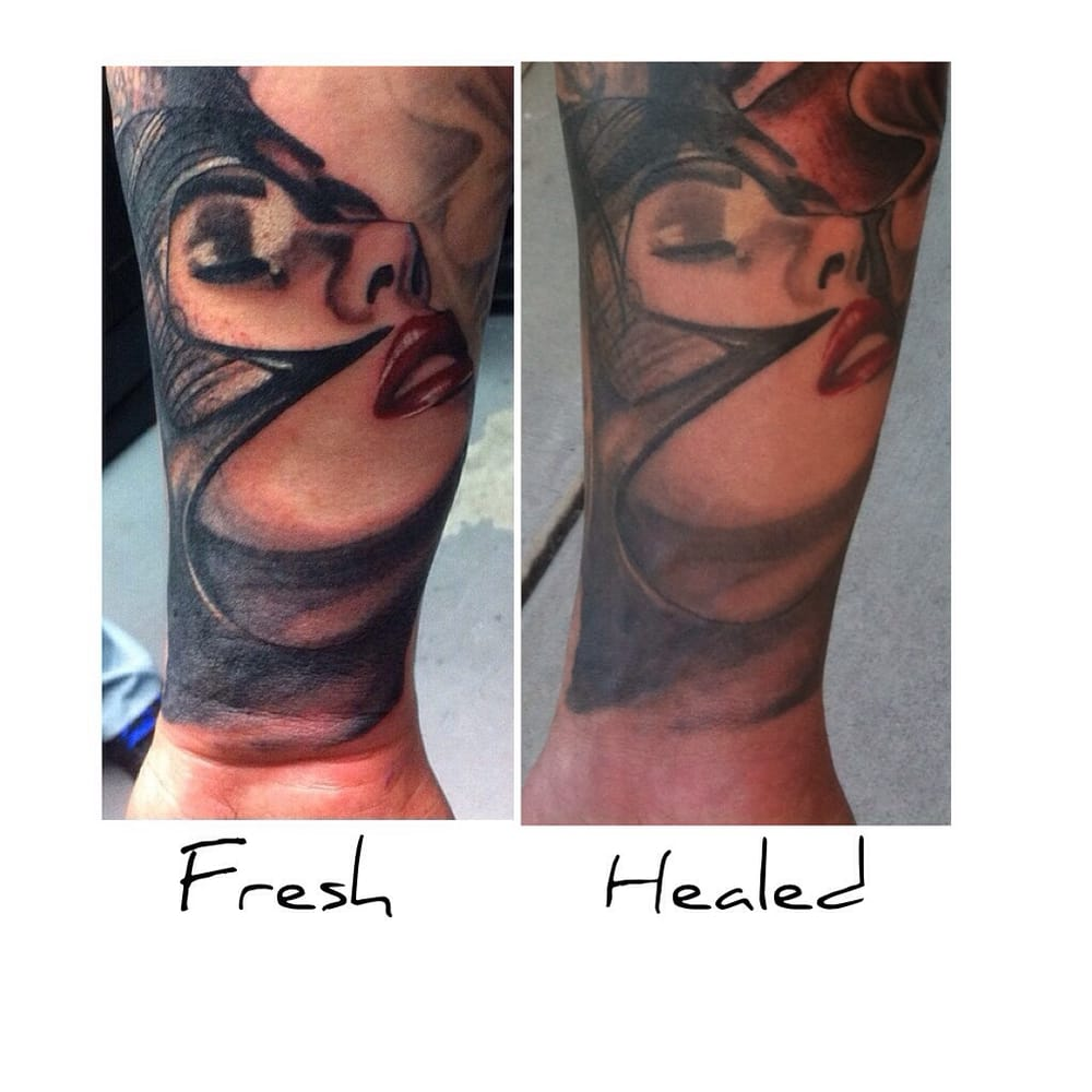 fresh tattoo and same tattoo one year later fully healed