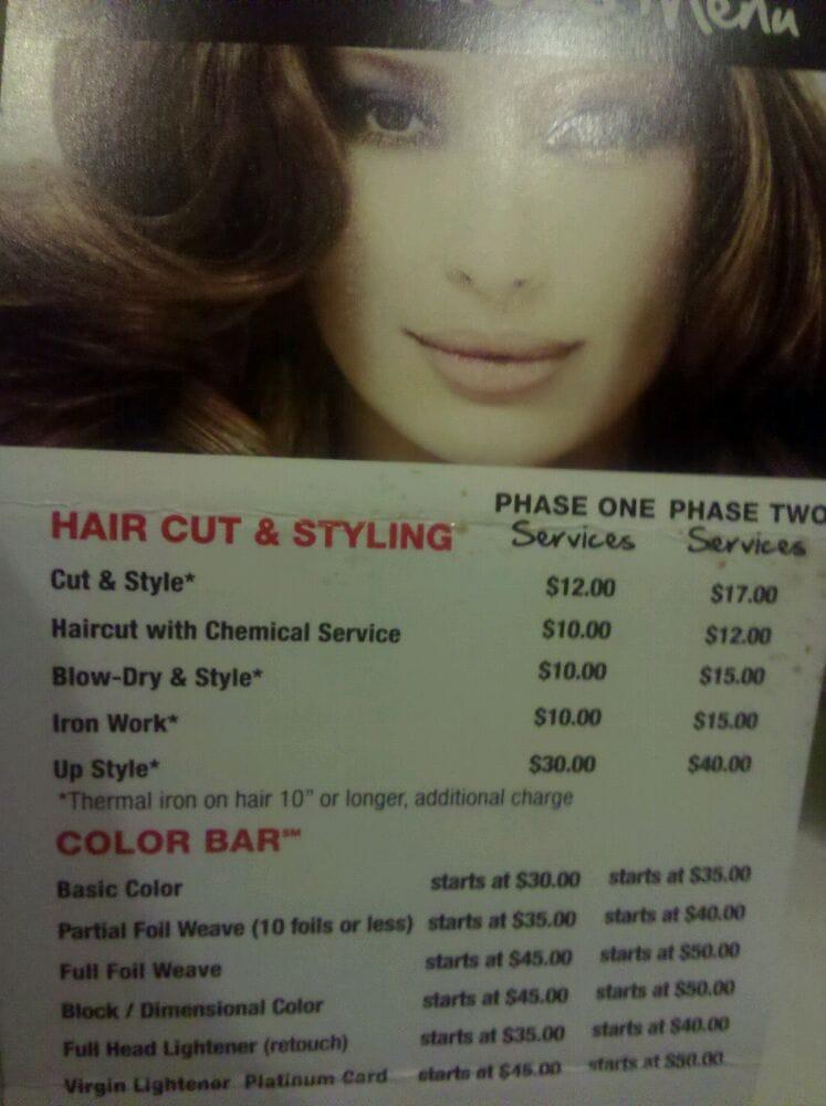 Hair Services Menu Yelp