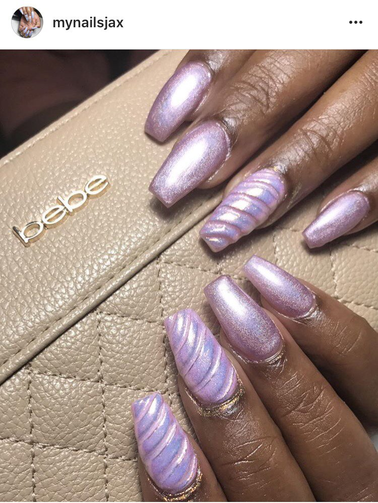 Coffin Nail Shape With Unicorn Designs Visit Us On Instgram