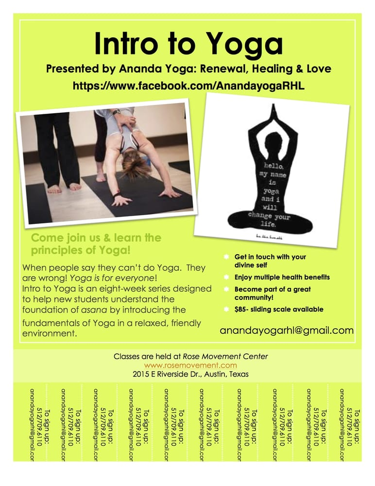 Intro To Yoga Class Flyer  Yelp
