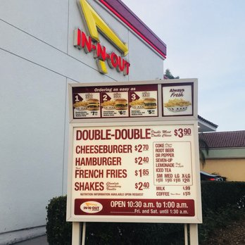 In And Out Prices >> Current Menu Prices Yelp