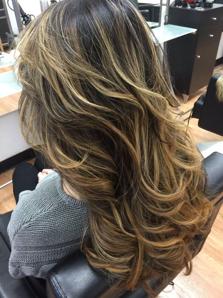 Blonde balayage on black hair by elena yelp photo of haute coiffure salon boston ma united states blonde balayage on urmus Gallery