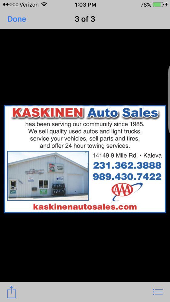Kaskinen Auto Sales: 14149 9 Mile Rd, Kaleva, MI