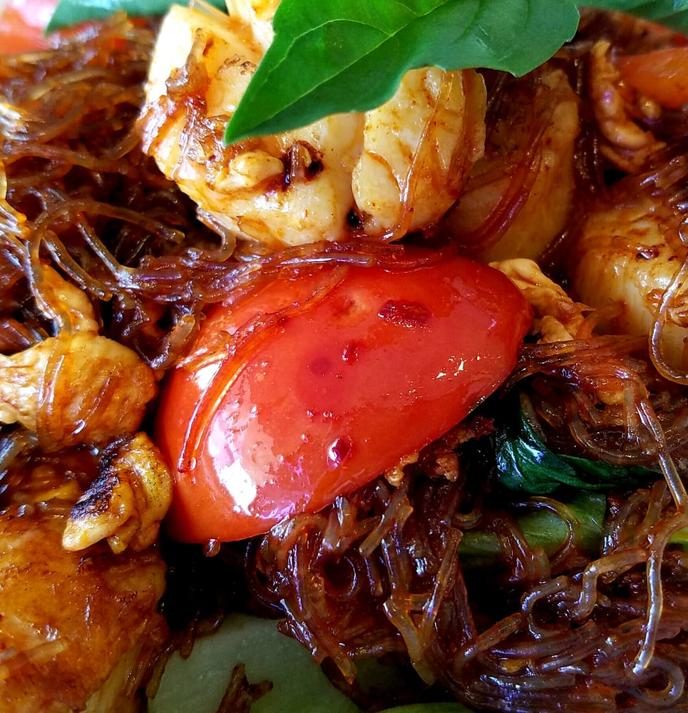 Phad Woon Sen W Duck: ASIAN MINT N Central : Pad Kei Mow Woon Sen With Shrimp