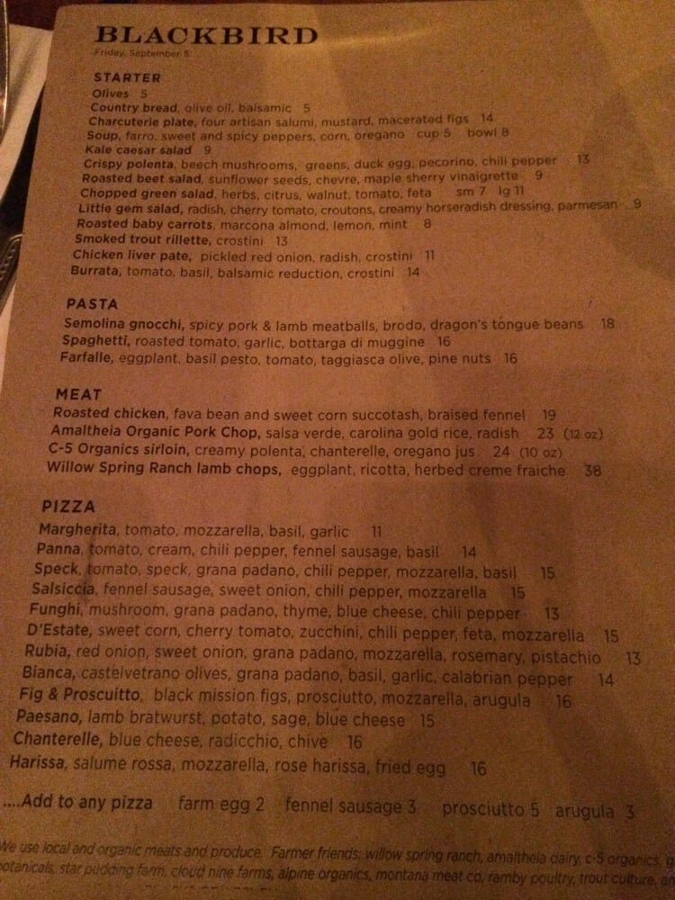 Blackbird Kitchen Menu Bozeman Mt