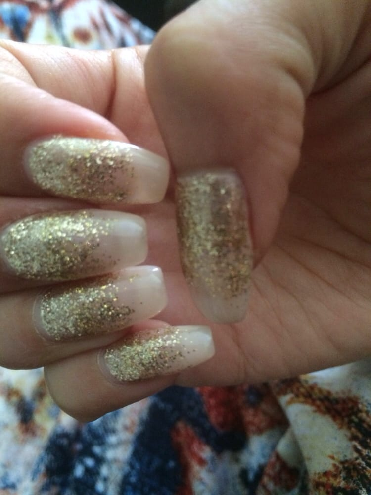 Nude pink nails with a gold glitter fade - Yelp
