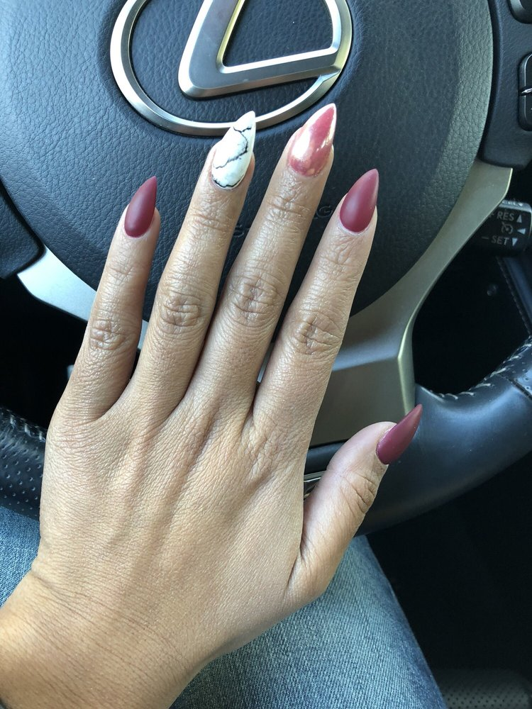 Matte Maroon, rose gold chrome, white marble. Nails by Amy, marble ...