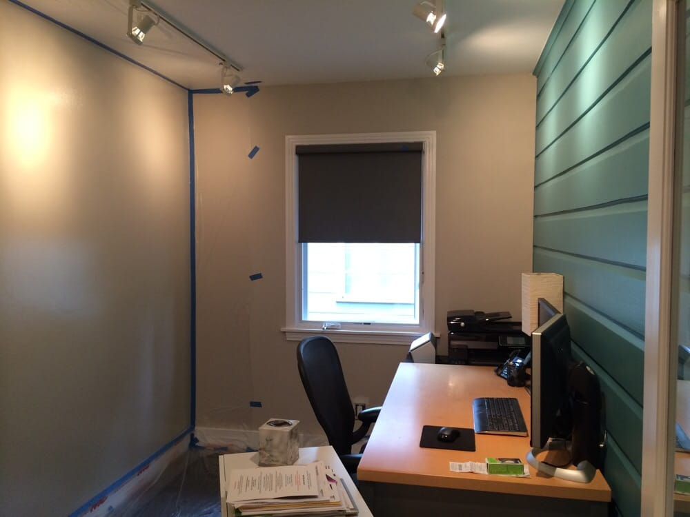 Office Wall In Sherwin Williams Cloudburst And Opposite