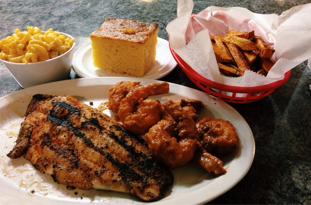Man vs food grilled cajun catfish fried shrimp in spicy for Side dishes to go with smoked chicken