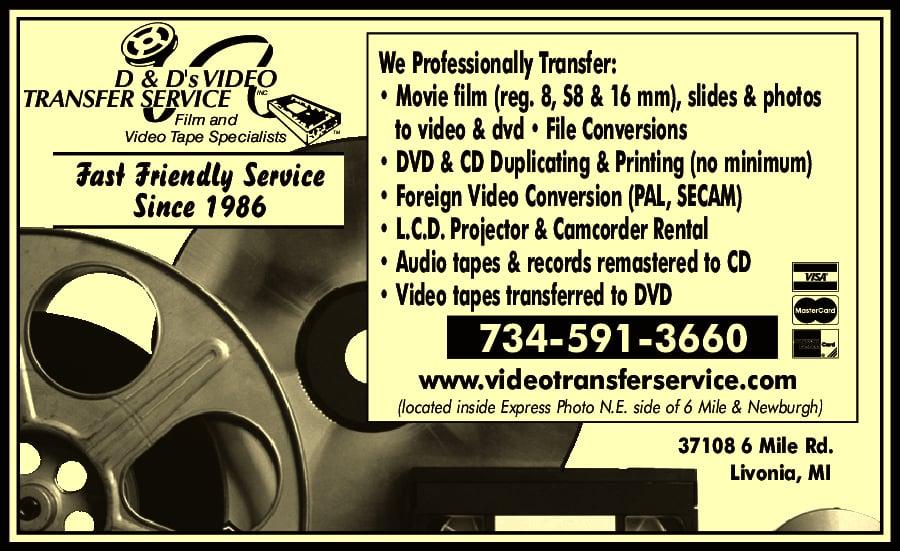 D&D Video Transfer Service: 37108 6 Mile Rd, Livonia, MI
