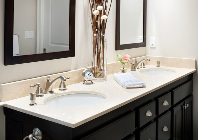 Master Bath Vanity In Crema Marfil Marble With Eased Edge