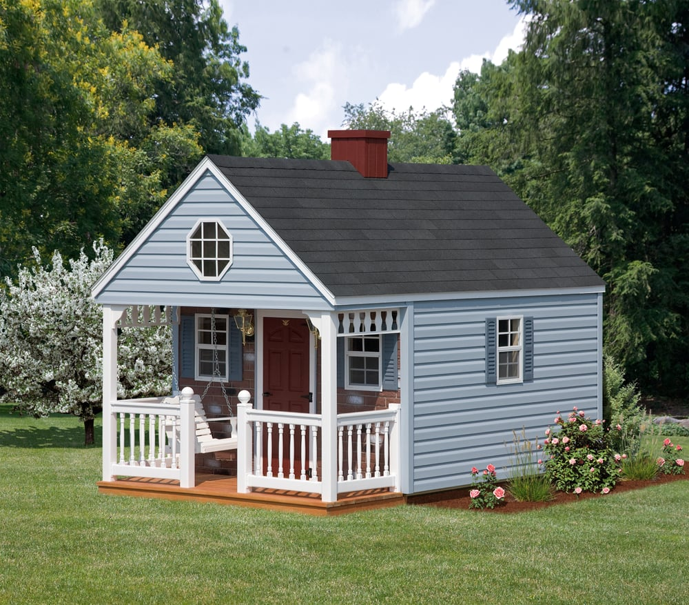 8x12 backyard cabin with blue vinyl siding yelp