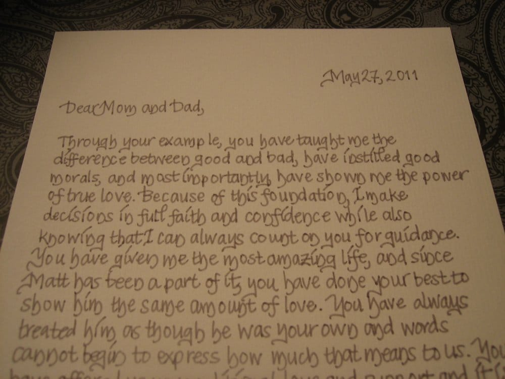 A letter from a bride and groom to their parents A great