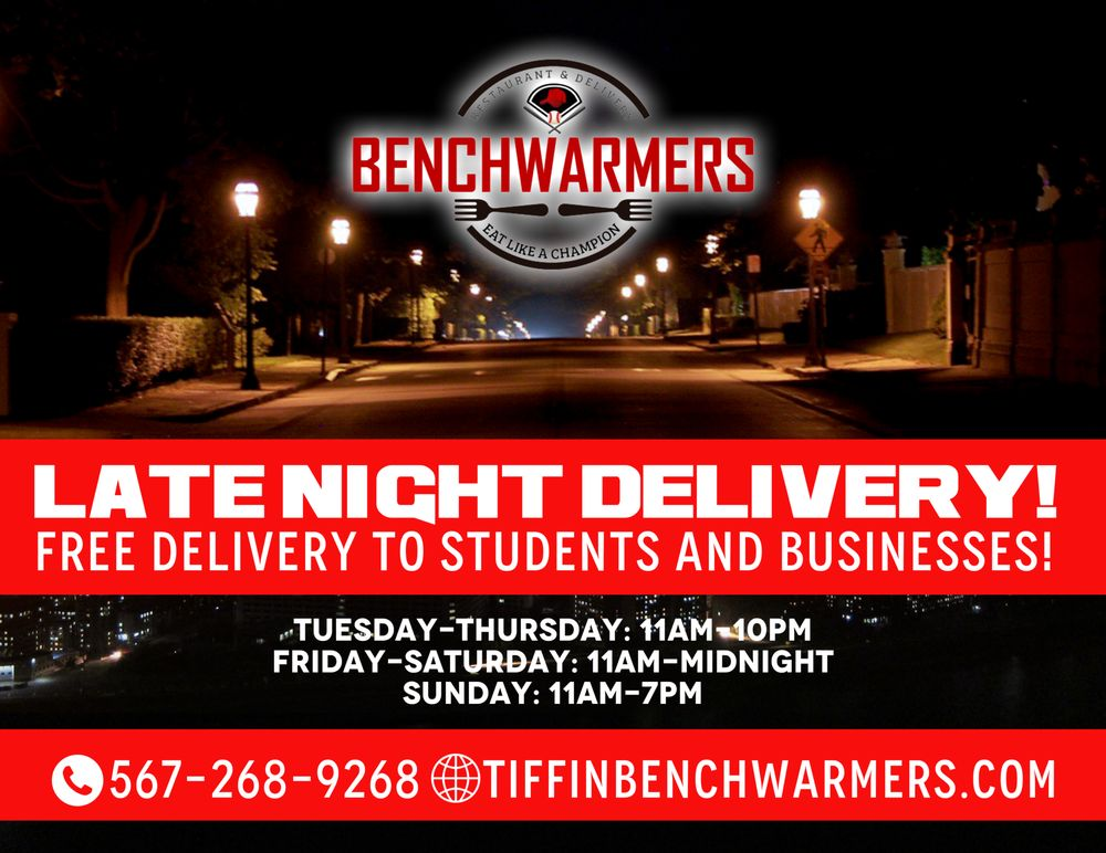 Benchwarmers Restaurant and Delivery: 105 Allen St, Tiffin, OH